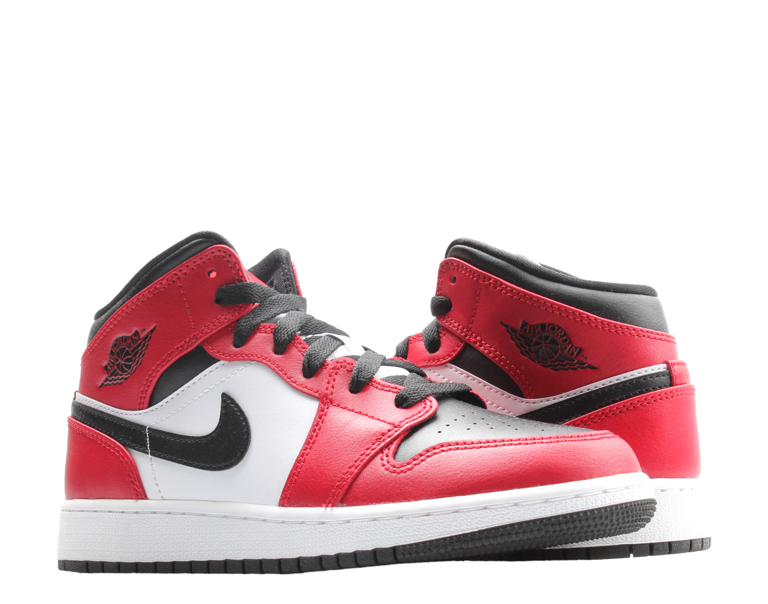 Details about Nike Air Jordan 1 Mid (GS) Black Toe Bred Black/Red Big Kids  Shoes 554725-069
