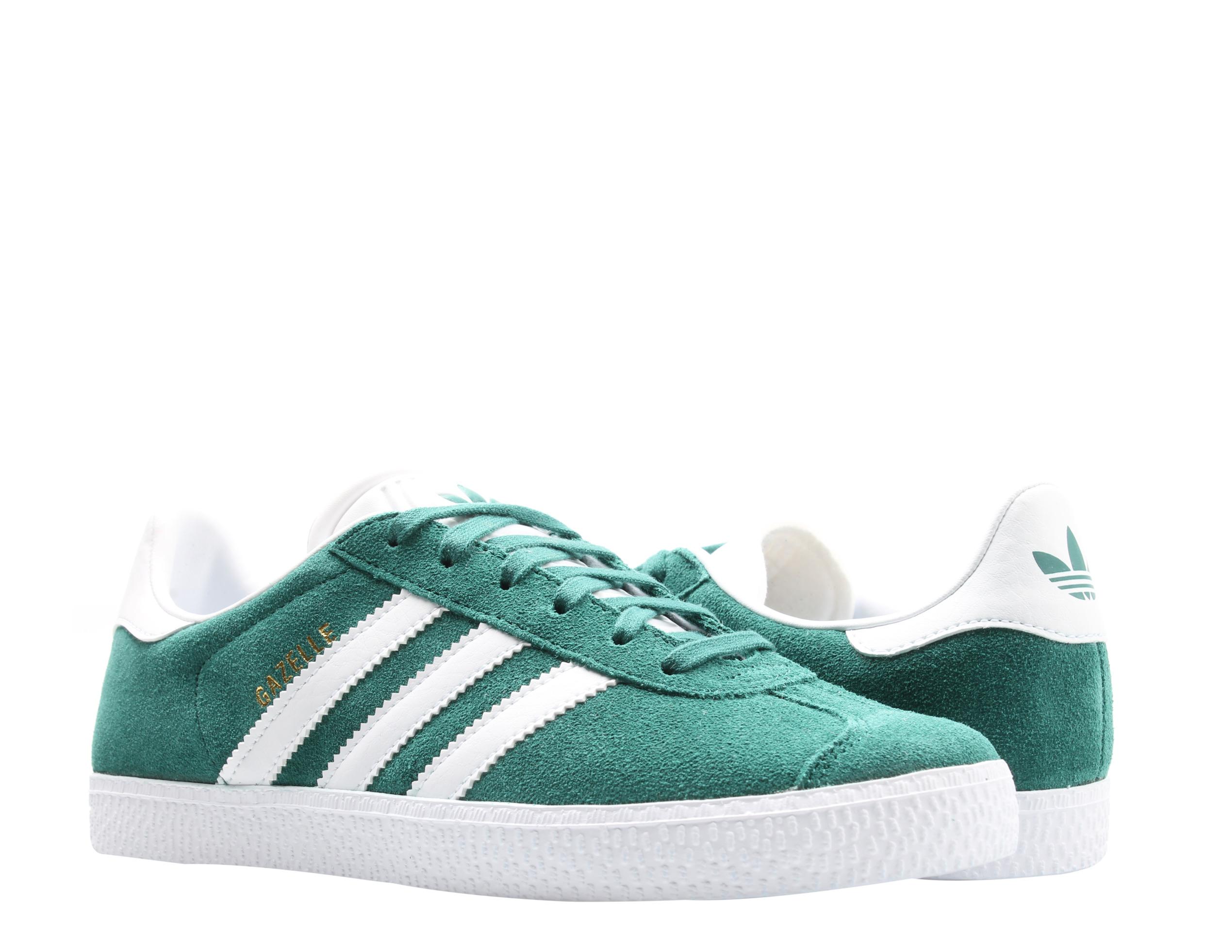 Adidas Originals Gazelle J Noble Green/White Big Kids Casual Shoes ...